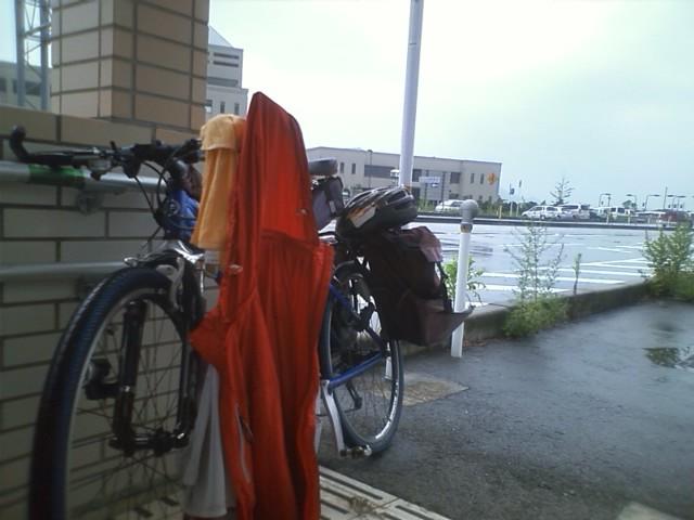 通り雨に降られた(ノ△T) 急いで来た道を引き返して雨宿りした 今は小雨に戻ったが、やまないかなぁ